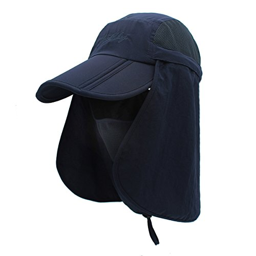 Surblue Quick-Drying Outdoor Cap UV Protection Sun Hats Fishing Hat Neck Face Flap Hat UPF50+ Deep ()