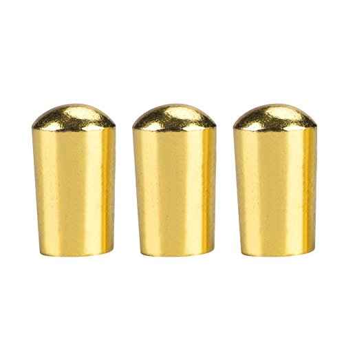 Dilwe 3Pcs Guitar Switch Tip, 3 Way Toggle Switch Knob Tip Cap Copper for LP EPI Electric Guitar (3.5mm-Gold)