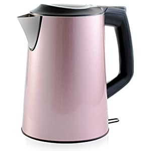 Stainless Steel Electric Kettle (Cordless) w/ 100% Plastic-Free Interior | Insulated Double Walls | Electronic Hot Water Heater Pot with Cool Touch, Boil Dry Protection & More (1.9Qrt/1.8L) (Pink)