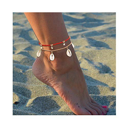 JYM JEWELRY Anklets for Women Boho Conch Cowrie Shell Anklet Gold Star Ankle Bracelet Woven Beaded Ankle Chain Hippy Surf Foot Jewellery (Red Shell Jewelry)