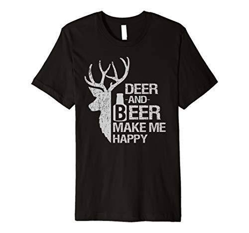funny hunting t shirt Deer and Beer make me happy man women