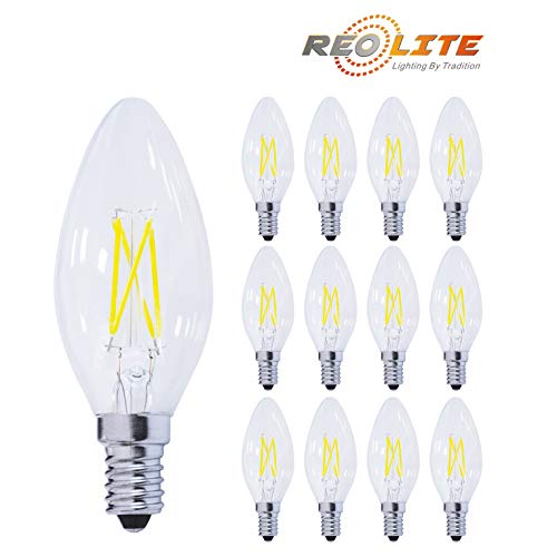 Reo-Lite 2700K Dimmable LED Candelabra Bulb 4W Soft White, 40W Equivalent 400LM E12 Base LED Chandelier Bulbs, B11 Clear Glass Candle Torpedo Shape, 360 Degree Beam Angle, 12 Pack