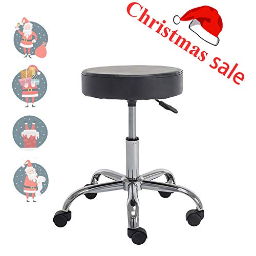 Henlus PU Round Seat Adjustable Rolling Stool with Wheels Office Desk Chair (Black)