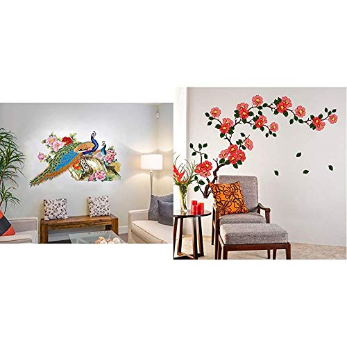Decals Design 'Peacock Birds Nature' Wall Sticker (PVC Vinyl, 60 cm x 90 cm),Multicolour