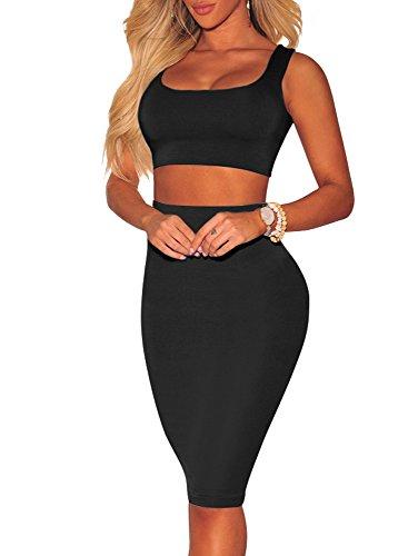 BEAGIMEG Women's Sexy Backless Crop Top Midi Skirt Outfit 2 Piece Tank Dress Black