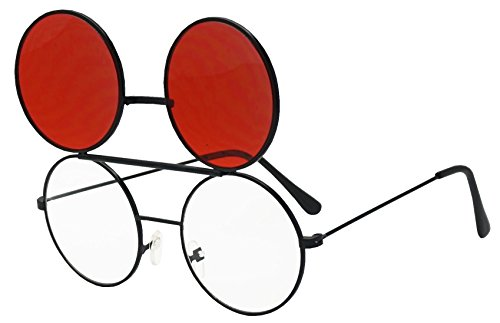 Round Colored Flip-Up Django Inspired Clear lens Sunglasses (Black / Red Lens, - Up Lenses Flip