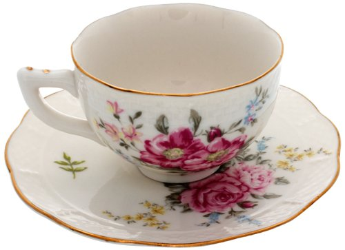 Gracie China by Coastline Imports 8-Ounce Tea Cup and Saucer with Elegant Embossed Texture, Delight Rose FD594-4