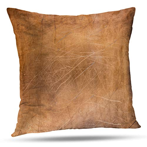 Tyfuty 16 x 16 inch Throw Pillow Covers Worn Sheet Copper Metal Abstract Aged Art Backdrop Brass Bronze Brown Pillowcases Cushion Use for Living Room Bed Sofa