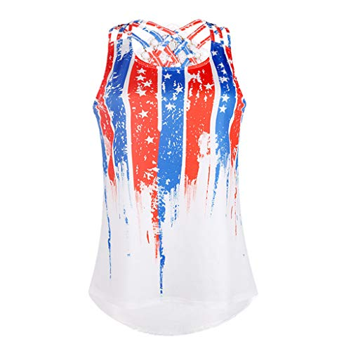 FRENDLY Summer Women Blouse Stripe America Flag Printed Sleeveless Tank Up Loose Blouses Sports Backless Shirts