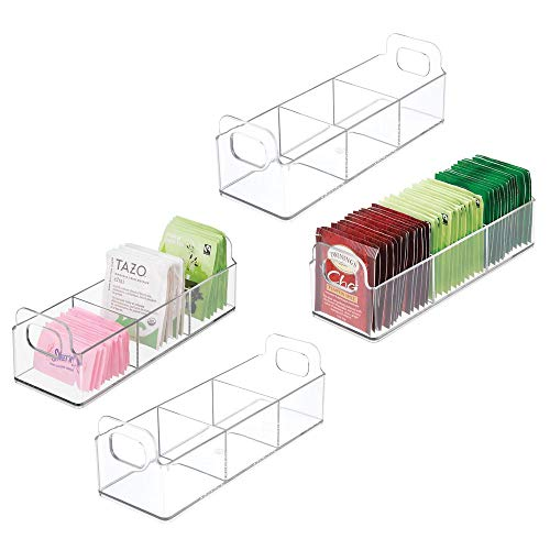 (mDesign Small Plastic Kitchen Pantry, Cabinet, Countertop Organizer Storage Station Tea Caddy Holder - Holds Beverage and Tea Bags, Sweetener, Individual Packet Condiments - 9
