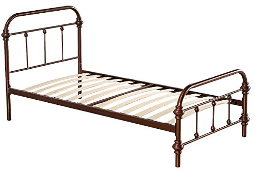 merax stylish design solid metal twin platform bed frame mattress foundation with headboard bronze