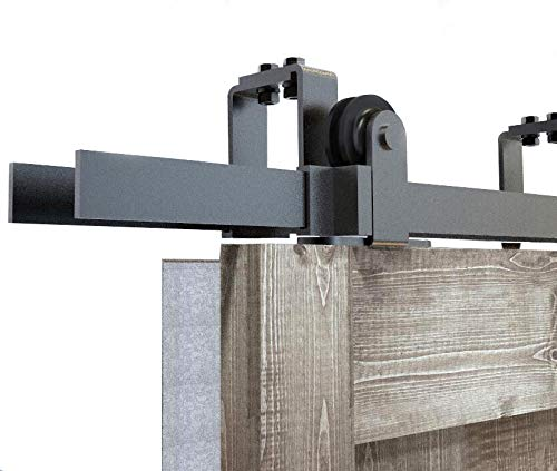 DIYHD 5ft Top Mount Bypass Double Sliding Wood Door Track Hardware Kit for Low Ceiling by DIYHD (Image #2)
