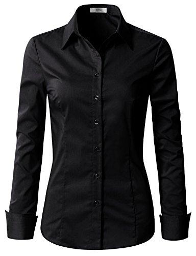 EZEN Womens Slim-Fit Long Sleeve Stretchy Button Down Collar Office Formal Casual Shirt Blouse