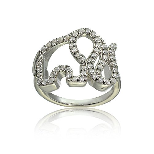 Hoops & Loops Sterling Silver Cubic Zirconia Elephant Ring