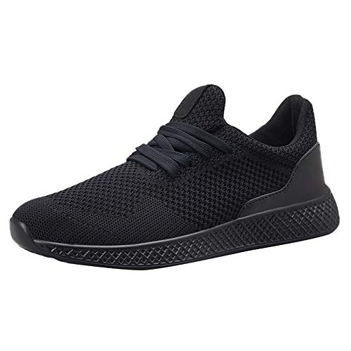 Mens Casual Running Shoes,Male Outdoor Flat Lace-up Solid Color Sport Shoes Lightweight Breathable Mesh Sneakers