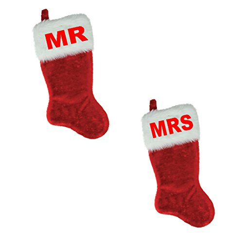 White Red Plush Stocking - NAME (MR & MRS ) EMBROIDERED 18