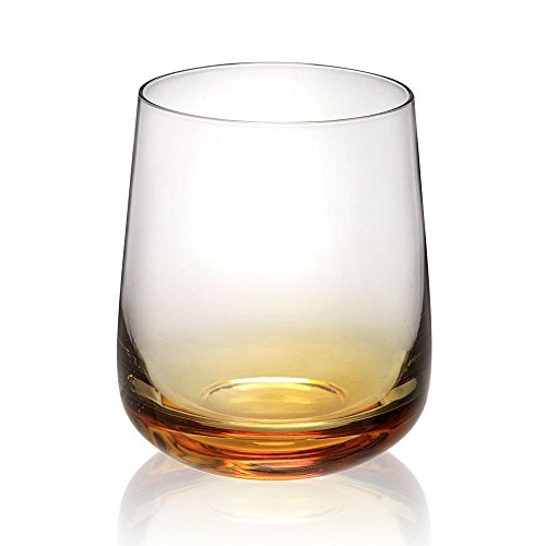 Viridian Bay Amber Old Fashioned Glass Set of 6 For Sale