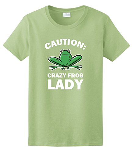 ThisWear Frog Plush Frog Statue Frog Costume Funny Gift Idea Caution Crazy Frog Lady Ladies T-Shirt Large ()