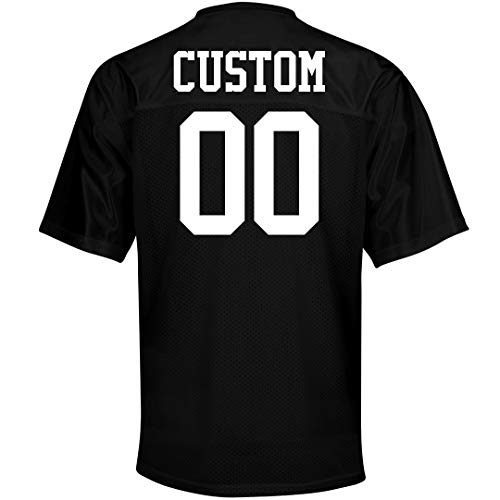 Custom Name Number Mesh Football Jerseys: Unisex Mesh Football Jersey Black