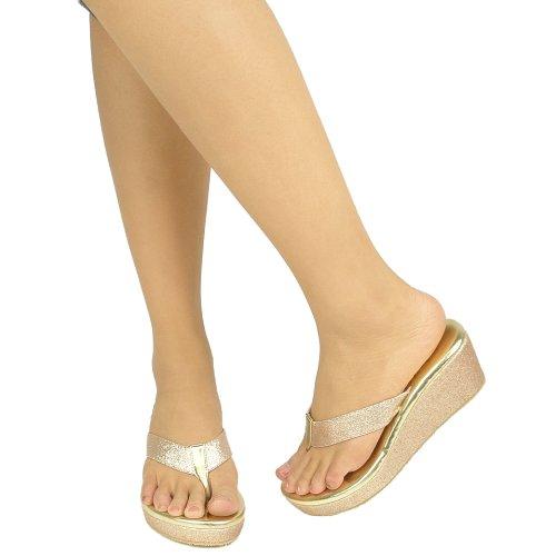 Thong Platform Wedge Low Heel Sandals Women Glitter Gold Size 6