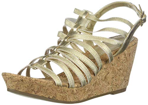 Rampage Women's Josie Wedge Sandal, Gold Stretch, 6.5 M - Shoes Belk