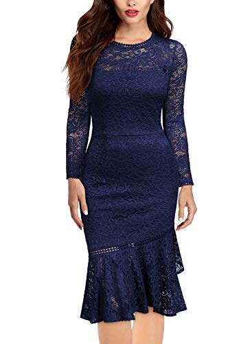 Miusol Women's Retro Floral Lace Long Sleeve Wedding Bridesmaid Dress,XX-Large,B-Navy Blue ()