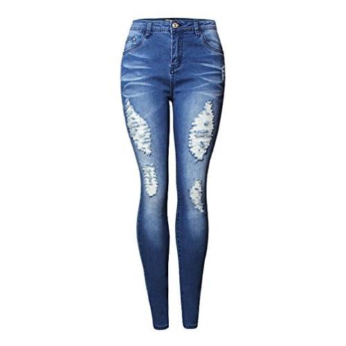 cf36f4e79b WanYang Mujeres Pantalones Vaqueros Largos Elásticos Rotos Pantalones  Agujeros Skinny Rasgados Jeans Flacos best