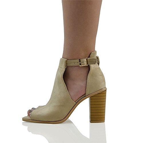 Essex Glam Donna Peep Toe Cinturino Alla Caviglia Sandali Tacco Faux Suede Scarpe Da Donna Nude Finto Camoscio