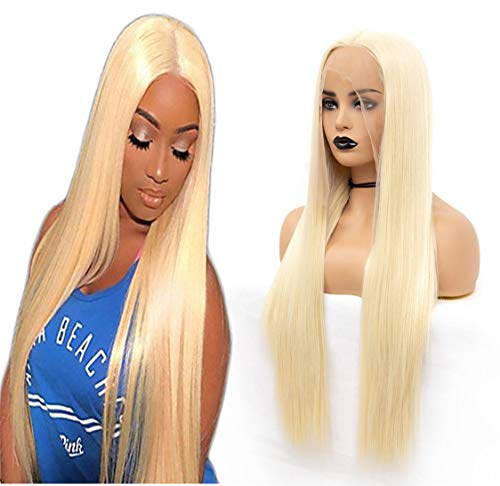 - ATOZWIG Kanekalon Fiber 136 Inch Long Parting Sythetic Glueless Lace Front Wigs,Pre Plucked Hairline Bleached Knots African American Wig Blonde Wigs