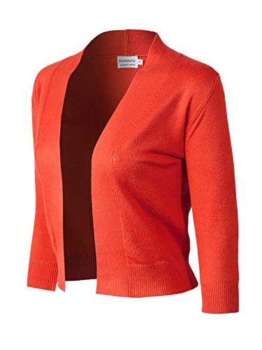 MixMatchy Women's Basic Solid 3/4 Sleeve Open Front Cropped Cardigan (S-XL) Hot Coral XL