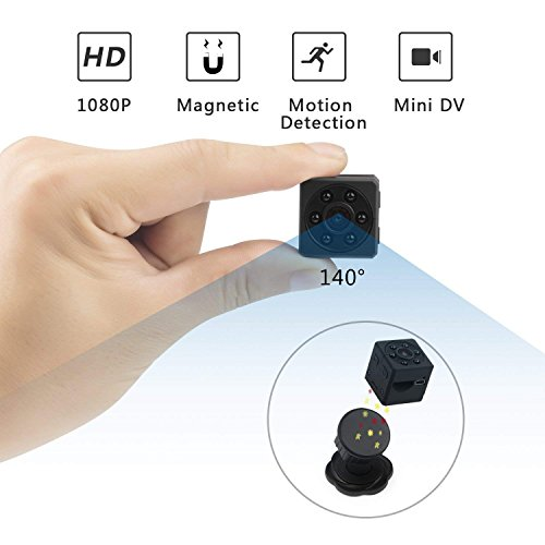 ikcool Mini Hidden Spy Camera Portable 1080p HD Nanny Camera Night Version Motion Detection Provide Perfect Indoor Covert Security Camera Home Office (Update Version) (Black)