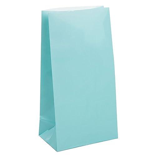 Unique Party - 59002 - Paquet de 12 Sacs Cadeaux - Papier - Bleu Pastel