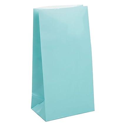 Unique Party- Paquete de 12 bolsas de regalo de papel, Color azul claro, 59002)