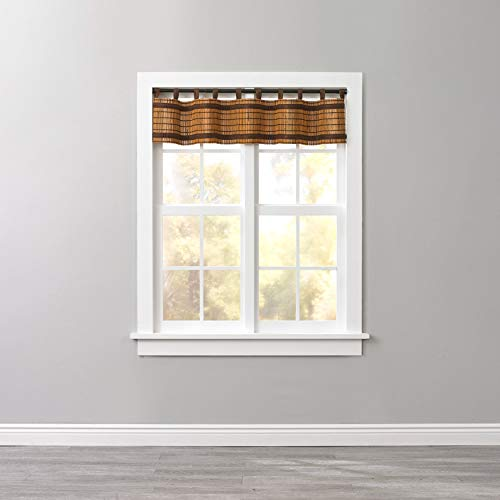 BrylaneHome Bamboo Tab-Top Valance - Honey Oak Brown (Bamboo Window Panels)