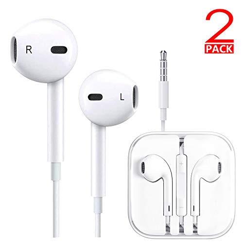 T-Win Earbuds/Earphones/Headphones, Premium in-Ear Wired Earphones with Remote & Mic Compatible Apple iPhone 6s/plus/6/5s/se/5c/iPad/Samsung/MP3 (White 2Pack) (Headphone Apple Iphone 6)