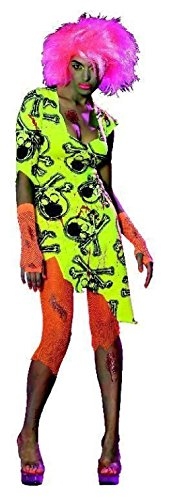 Toxic Dance Costume (Neon Rave Toxic Zombabe Zombie Girl Black Light Glow Ladies Costume Small 6-10)