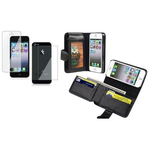 schwarz Leder Wallet HÜLLE Tasche Cover SCHALE CASE 2X FOLIE für Apple iPhone 5