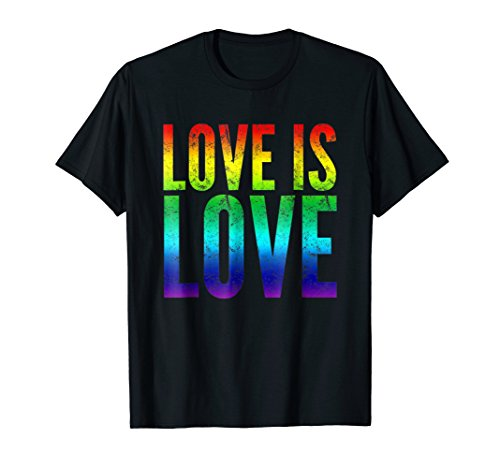 Gay Pride Tee shirt Love is Love Rainbow Flag Colors by Gay Pride Apparel by Paul