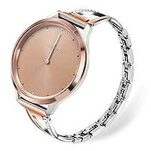 for Vivomove HR Women Watchband, TRUMiRR Jewelry Stainless Steel Watch Band Rhinestone Diamond Strap Quick Release Rose Gold Bracelet for Garmin Vivomove HR Sport/HR Premium/Vivomove 3/Luxe/Style