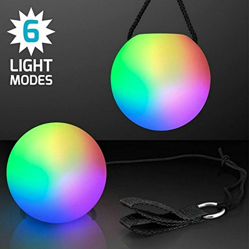 KEPEAK Magic LED Poi Balls Fun Toys for Dances, Camping & Indoor/Outdoor Activities (Pack of 2) by KEPEAK