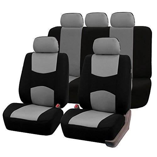 FH Group FB051GRAY115 Gray/Black Rear Split Flat Cloth Multifunctional Seat Cover (Airbag Compatible Full Set)