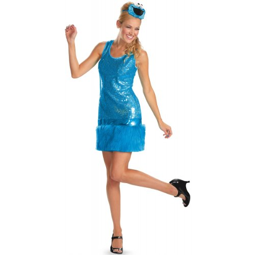 Disguise Sesame Street Cookie Monster Glam Deluxe Womens Adult Costume, Blue, Medium/8-10