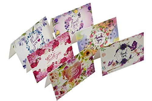 54 Floral Thank You Cards - Watercolor Bulk Notes Card - Papyrus Rustic Postcards Blank Inside with Envelopes for Engagement Wedding Cute Baby Shower Bridal Baptism Birthday Girl Small Funeral Note Photo #2