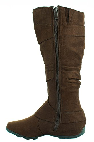 Forever Womens Florita-33 Suede Knee High Boots With Decorative Buckles Brown pKXJeSH