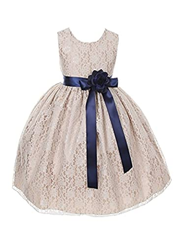 Cinderella Couture Girls Champagne Lace Dress with Navy Sash & Flw 2 (1132) - Couture Formal Dresses