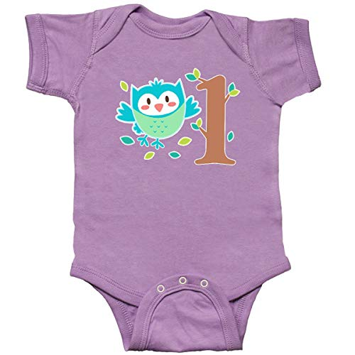 inktastic - Owl First Birthday Tree Infant Creeper 12 Months Lavender -