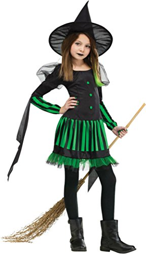 [Girls Wicked Witch Kids Child Fancy Dress Party Halloween Costume, L (12-14)] (Classic Black Witch Costumes)