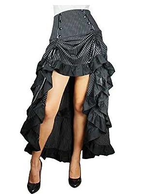 Three Tiered Tail Skirt Black Pinstirpe Gothic Victorian Renaissance Steampunk Goth