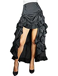 Three Tiered Tail Skirt Black Pinstirpe Gothic Victorian Renaissance Steampunk Goth