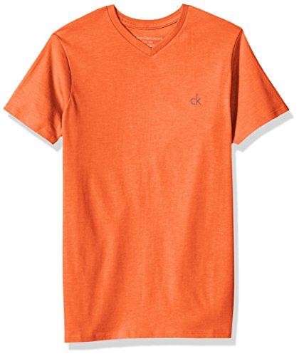 Calvin Klein Big Boys' Solid V-Neck Tee, Orange Heather, Large (14/16) by Calvin Klein